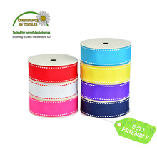 White Red Black Stitch Grosgrain Ribbon 3/8 9mm 5/816mm 7/822MM 1 25mm 1-1/2 38 MM Wedding DIY