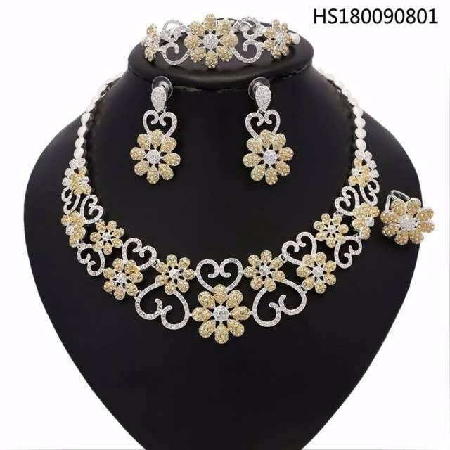 YULAILI Pure Gold Color New Coming Jewelry Sets Flower Design Necklace Bracelet Earrings Ring Wedding Accessories a suit of gorgeous rhinestoned flower necklace bracelet earrings and ring for women