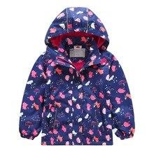 Warm Child Coat Cat Print Baby Girls Jackets Waterproof Children Outerwear Thicken Polar Fleece Autumn Winter For 3-12 Years Old цены