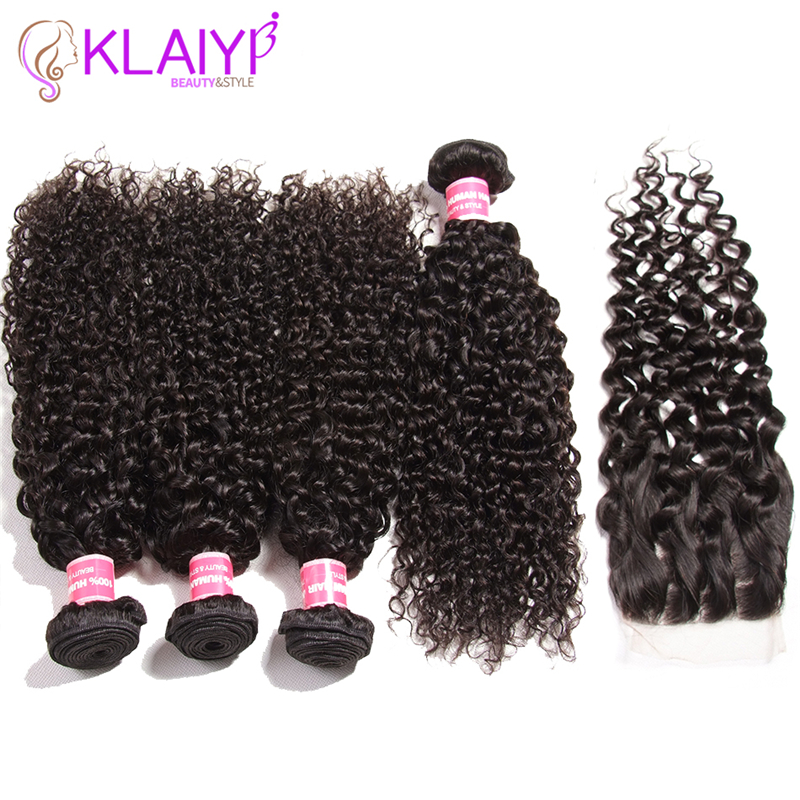 Klaiyi Hair Curly Bundles With Closure Human Hair Lace Closure With Bundles Hair Weave Natural Color Indian Remy Hair Extension