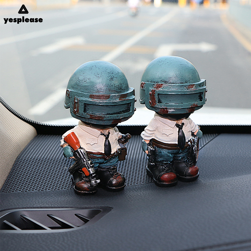 Yesplease Cute Player Unknowns Battlegrounds Resin Doll Car Interior Accessories Ornaments Car Dashboard Soldier Dolls