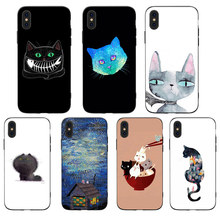 Cartoon Cute Cat  Phone Cases Cover for iphone X XR XS MAX 6 6s 7 8 Plus TPU Coque For 8Plus 5SE