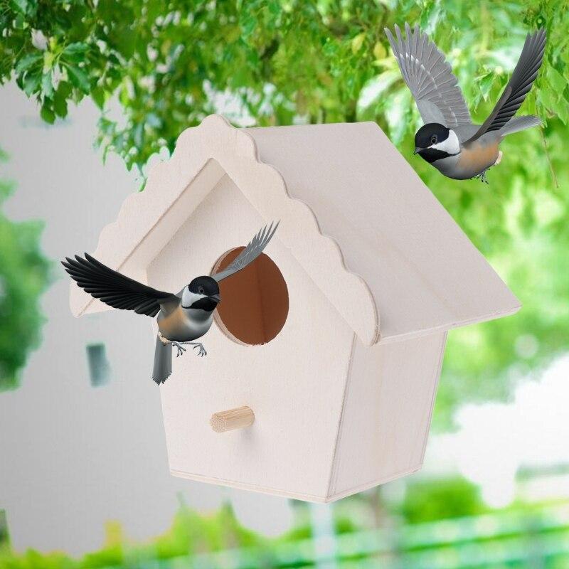Bird Nest Natural Wood House Creative Parrot Wall Mounted Hanging Birdhouse Garden Decor Birds Supplies