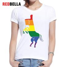 REDBELLA Feminist T-shirt Women Unicorn Colorful Horse Print Rainbow Abstract Unicornio Camiseta Feminina Hipster 2017 Clothing