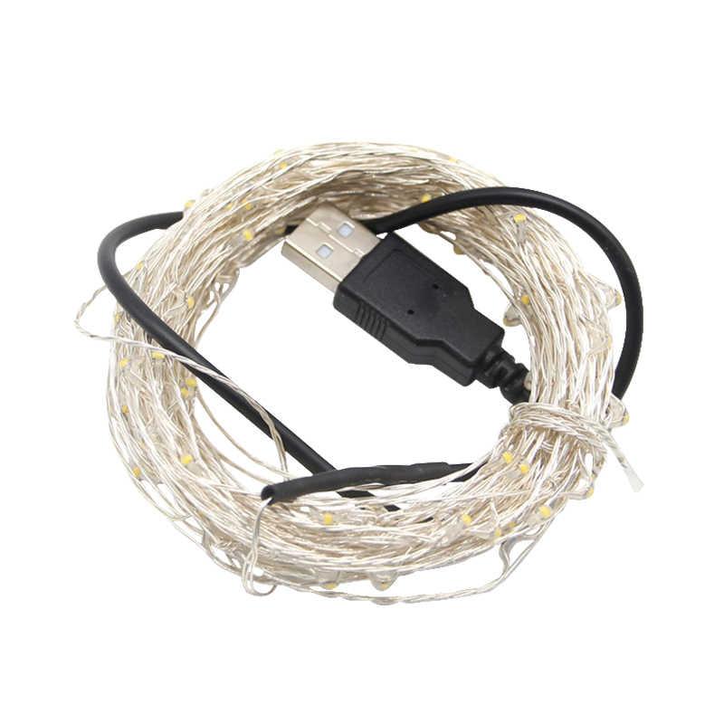 5 м 10 м USB светодиодный модуль гирлянды ночник светодиодный медный провод фея Свадебная струна наружная Новогодняя вечеринка украшения