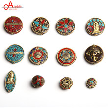Aladdin Nepal Metal Copper Beads Artificial Coral & Calaite Cloisonne Vintage Ethnic DIY Bracelet Jewelry Accessories 733-744(China)