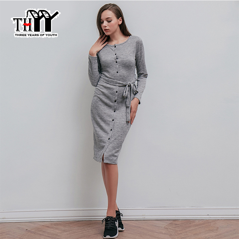 THYY Gray button division nursing knitted belt dress Women 2017 Full Casual Bodycon Winter Dress Women vestido/vestido de festa