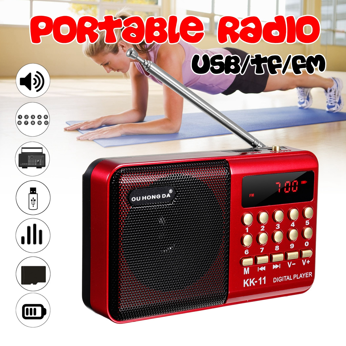 Audio Vidéo Décodeur MP5 Lecteur Musique Haut-Parleur FM USB AUX Bluetooth