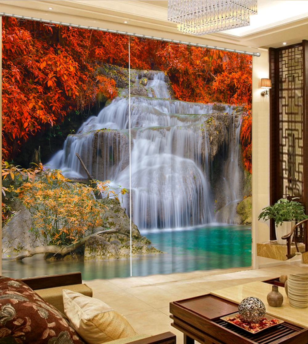 Beautiful maple leaf waterfall Blackout Window Curtain Printed 3D Curtains Living room Bedroom For Window DecorationBeautiful maple leaf waterfall Blackout Window Curtain Printed 3D Curtains Living room Bedroom For Window Decoration