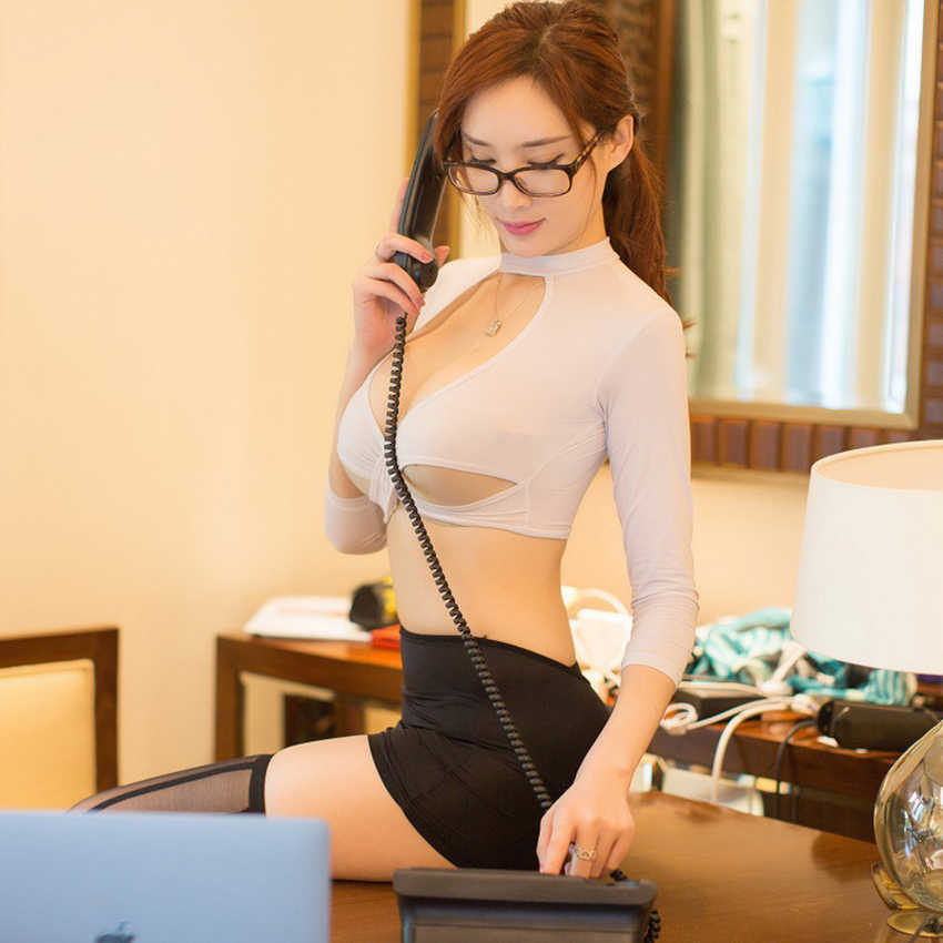 Women Sexy Secretary Uniform Fashion Style Bandage Uniform Sheer Costume Cosplay Outfit Allure Fancy Underwear