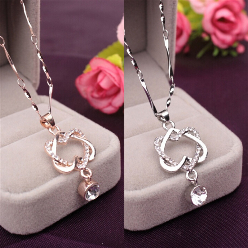 1Pcs Double Heart Winding Crystal Rhinestone Short Drop Pendant Necklace Gift Necklace Dress for Women Jewelry