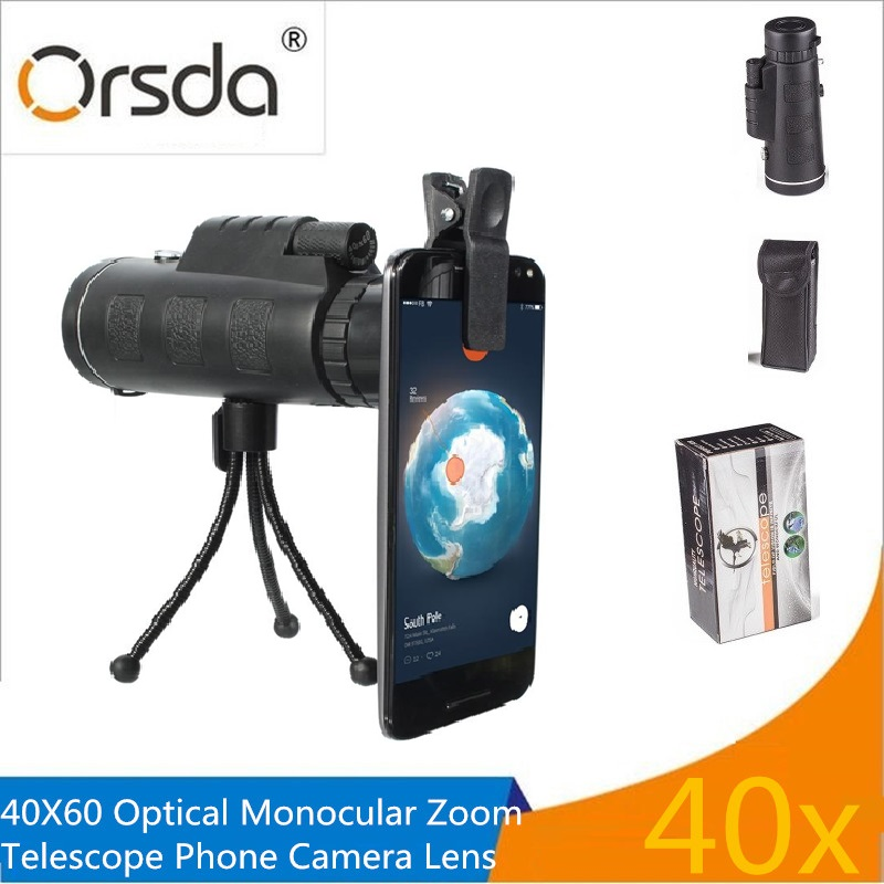 Universal Clip 40x60 Zoom óptico telescopio telefoto teléfono móvil Cámara lente para ios Android teléfonos inteligentes lentes con paquete