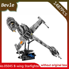 Bevle Store LEPIN 05045 1487Pcs Star Wars series Genuine The B-wing Starfighter Building Blocks Bricks 10227 Children's toys