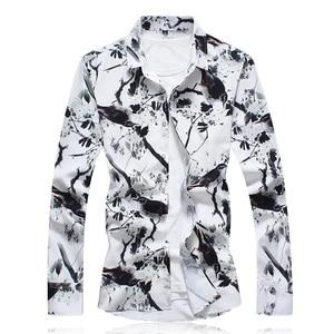 Image 4 - 秋男性カジュアルシャツ 2020 新プラスサイズ長袖シャツ男性ファッションスリムフィットカミーサソーシャルmasculinaブランド服 7XL 6XL
