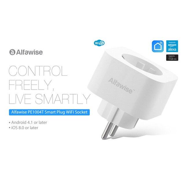 Alfawise PE1004T Mini WiFi gniazdo inteligentna wtyczka pracy z Amazon Alexa Google domu aplikacji mobilnej pilot zdalnego sterowania miernik zużycia energii ue wtyczka