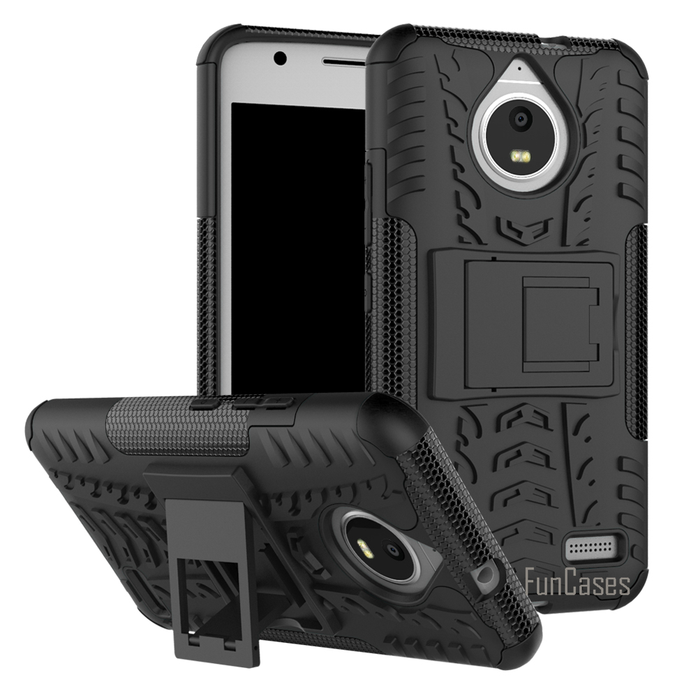 For <font><b>Motorola</b></font> Moto <font><b>E4</b></font> <font><b>XT1762</b></font> XT1772 Case Hybrid Kickstand Dazzle Rugged Rubber Armor Hard PC+TPU Stand Function Shockproof Case image