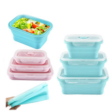 4pcs/set Silicone Collapsible Lunch Box Food Storage Container Bento BPA Free Microwavable Portable Picnic Camping Rectangle