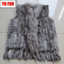 Hot Sale Women Real Rabbit Fur Vest Handmade Knitted Real Genuine Rabbit Fur Gilet Real Raccoon Dog Fur Collar Sleeveless Coats cheap Fashion Slim Fur Real Fur YH-FUR-052001 STANDARD REGULAR With Raccoon Dog Fur Collar Single Breasted Solid Casual 100 real genuine rabbit fur and raccoon fur