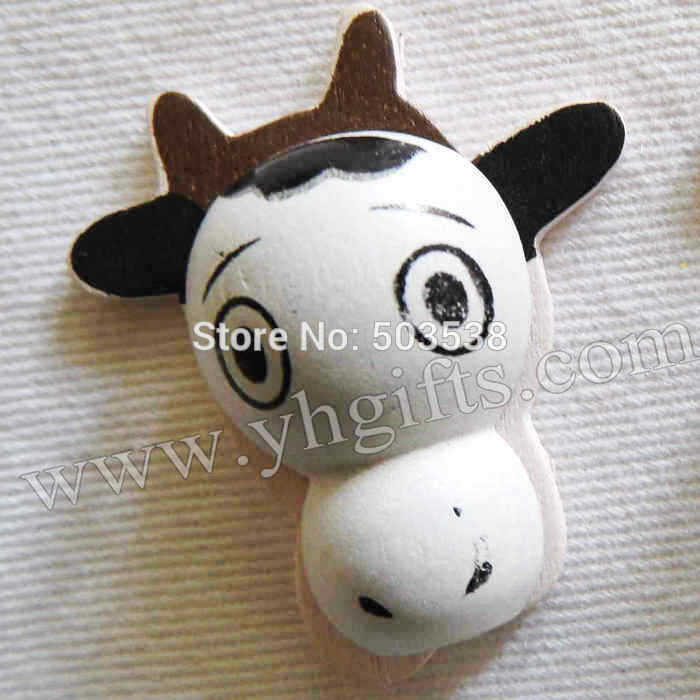 100PCS/LOT.Wood cow stickers,3x3.3cm.Kids toys,scrapbooking kit,Early educational DIY.Kindergarten crafts.Classic toy.cheap toy