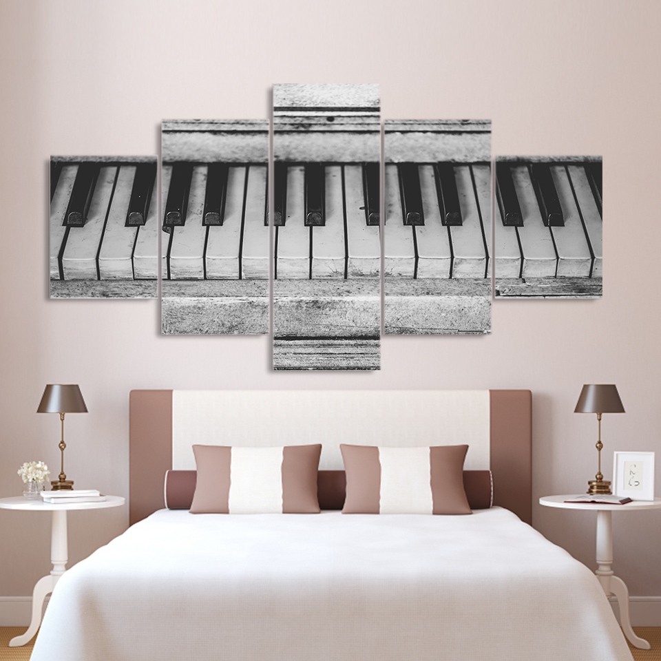 Decoration Living Room Modular Pictures 5 Panel Old Piano Keyboard Framework Wall Art Painting HD Printed Canvas Poster Home