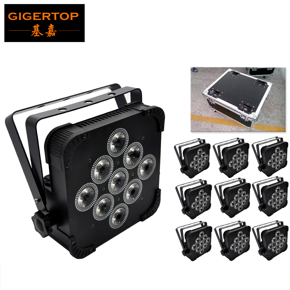 TIPTOP 10IN1 Flightcase Pack 9*12W RGBW Flat Led Par Light Black Iron Case Slim Size Electronic Dimming uilt in Sound Microphone