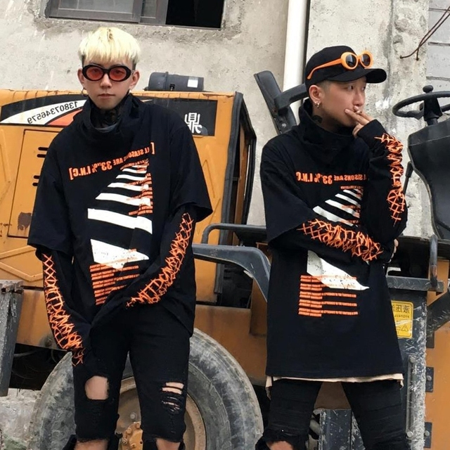 80970db46638 Fashion Super Long Sleeve Letter Pattern Printed Fake Two Piece Oversized  Women Men's Hoodie Hip Hop