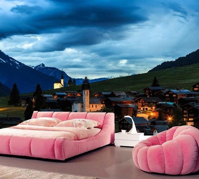 Schweiz Häuser Berge Abend Sky City Foto Gebäude Tapete