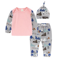2017 New Arrival 100 Cotton Baby Girl Clothes Newborn Long Sleeve T Shirt Pants Hat 3
