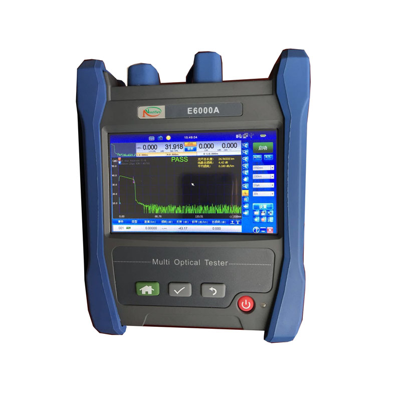 Handheld OTDR E6000A OTDR 1310/1550nm 28/26dB,Integrated VFL, Touch Screen Optical Time Domain Reflectometer VFL English Menu