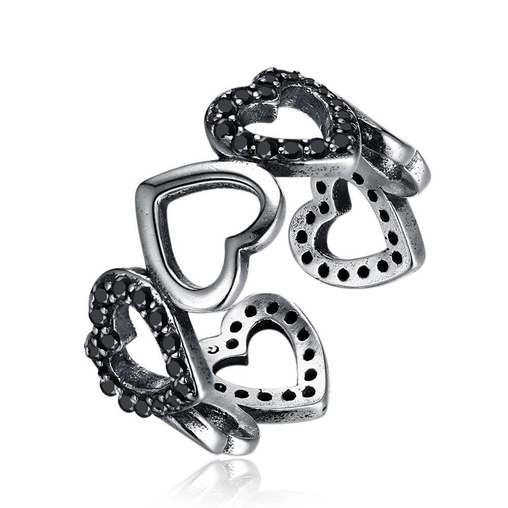 Hemiston Luxury Antique 100% 925 Sterling Silver Multiple Heart Shape of Black Zircon Rings for WomenJewelry SVR261