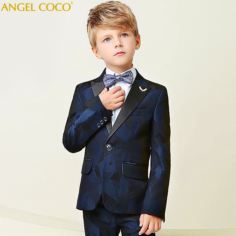 High Quality 2018 New Arrival Fashion Baby Boys Kids Blazers Boy Suit For Weddings Prom Formal Dark Blue Dress Wedding Boy Suits kimocat boy and girl high quality spring autumn children s cowboy suit version of the big boy cherry embroidery jeans two suits