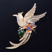 Luxury Gold Color Bird Phoenix Animal Crystal Pins And Brooches For Women Men Large Suit Clothes