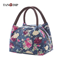 TANGIMP Portable Canvas Lunch Bag for Women Men Kids Food Picnic Lunch Bags Waterproof Flower Rose Lunch Box Bag Tote fiambrera
