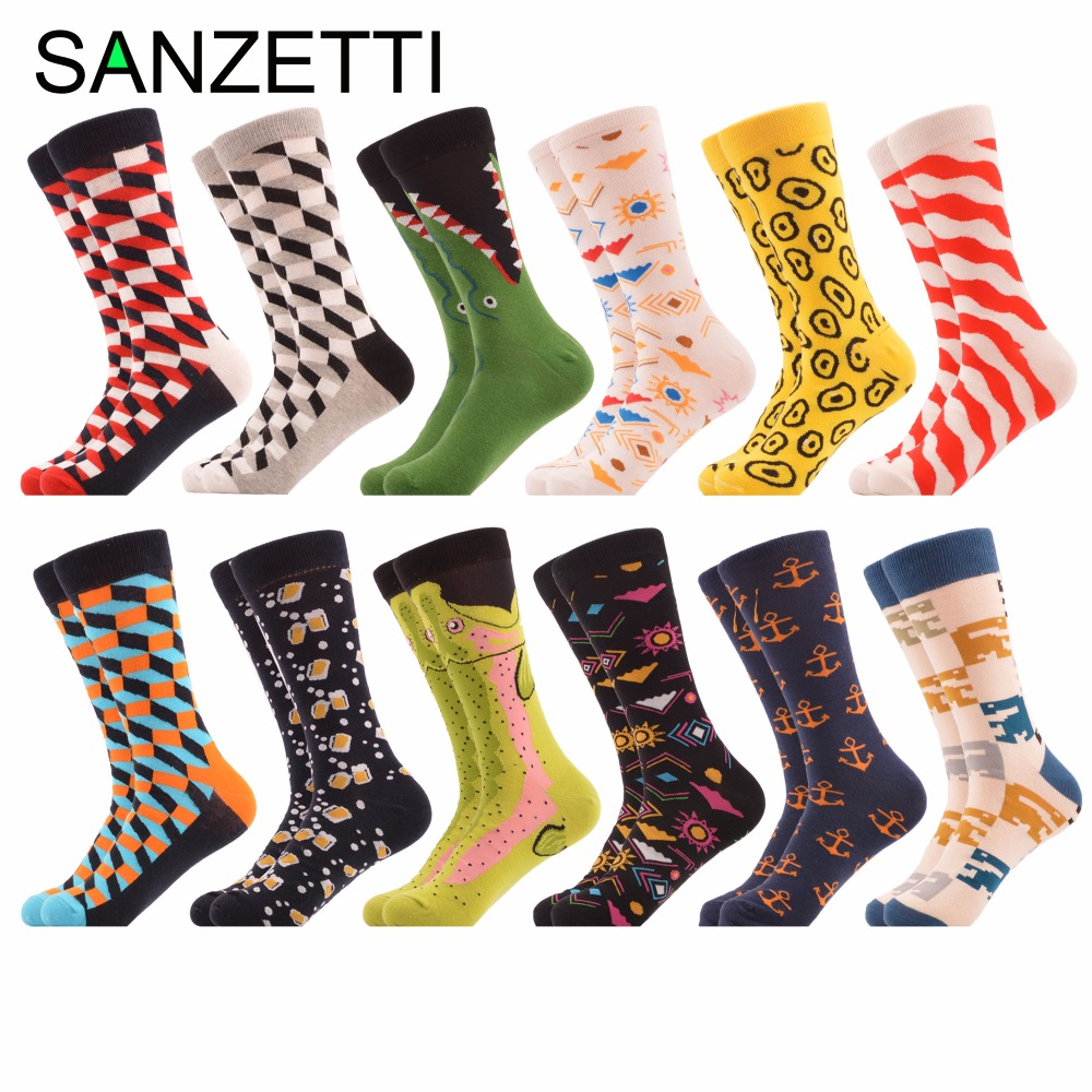 SANZETTI 12 pairs/lot Autumn Winter Mens Casual Combed Cotton Socks Dozen of Dress Colorful Crazy Socks for Male Wedding Gift