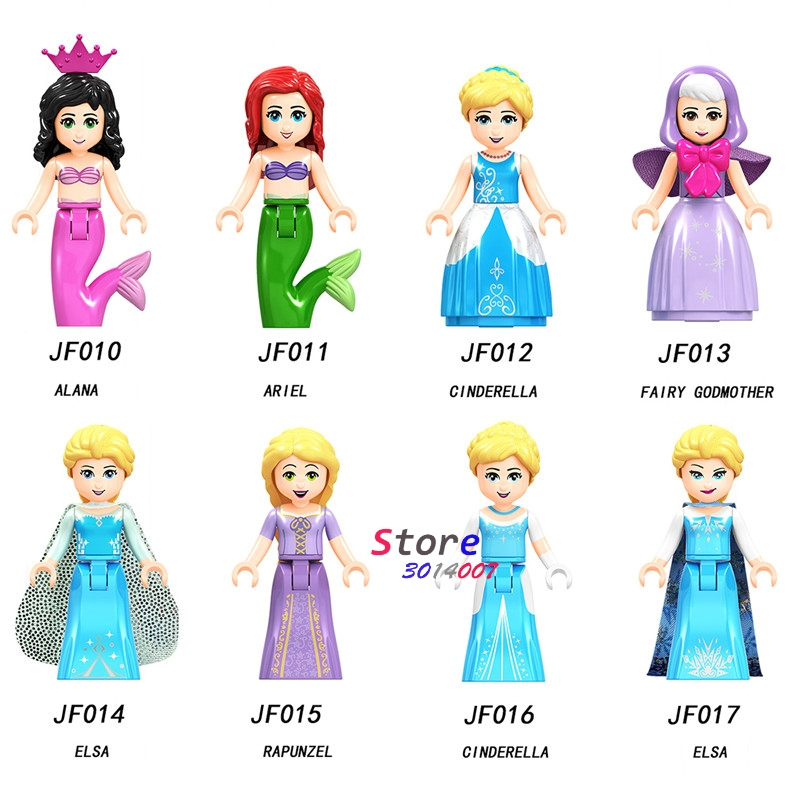 Blocks Straightforward 50pcs Building Blocks Princess Girl Figure Snow World Series Alana Ariel Fairy Godmother Elsa Anna Elsa For Kids Children Toys Warm And Windproof Model Building