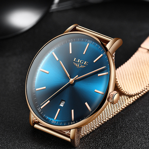 Image 2 - 2019 Womens Watch LIGE Top Brand Luxury Women Fashion Casual All Steel Ultra Thin Mesh Belt Quartz Clock Relogio Feminino+Box
