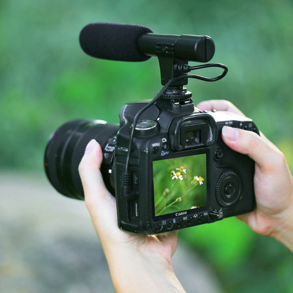 Portable Video Microphone Interview Microphone 3.5mm Audio Stereo Recoding Microphone For DSLR Camera