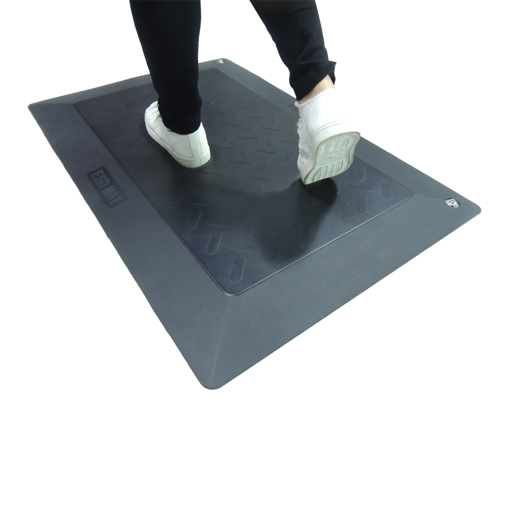 Black Floor Antistatic ESD Mat Anti-fatigue Floor Mat 25mm thickness with Grounding Cord for Factory Workstation