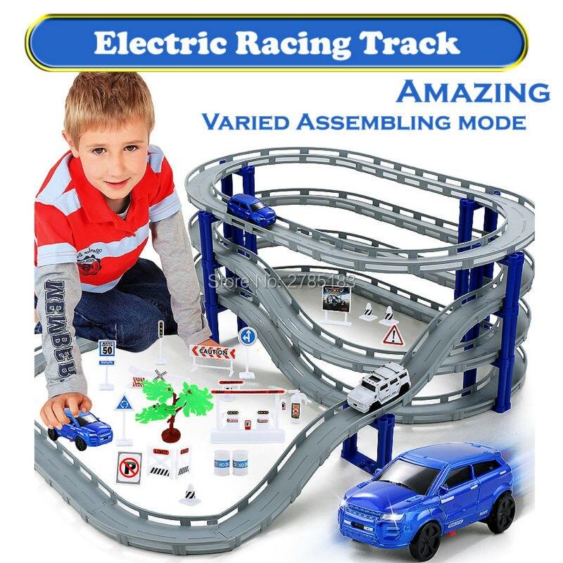 3 estilos Racing Road pista de coches de Tren Eléctrico Puente Ferrocarril pista de carreras de juguete carretera puente transporte juegos de construcción