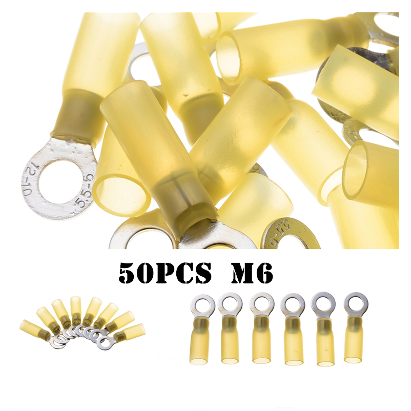 50pcs Heat Shrink Ring M8 Terminals Insulated Electrical Wire Cable Connectors Auto Yellow Shrinkable Terminators Set 12-10AWG 305pcs insulated 22 10awg terminals cold pressed wire connectors