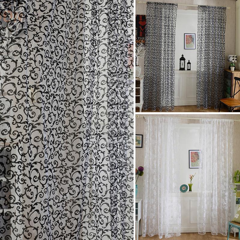 Fashion 100cm X 200cm Peony Flower Window Curtains Door Room Divider Sheer Panel Drapes Scarfs