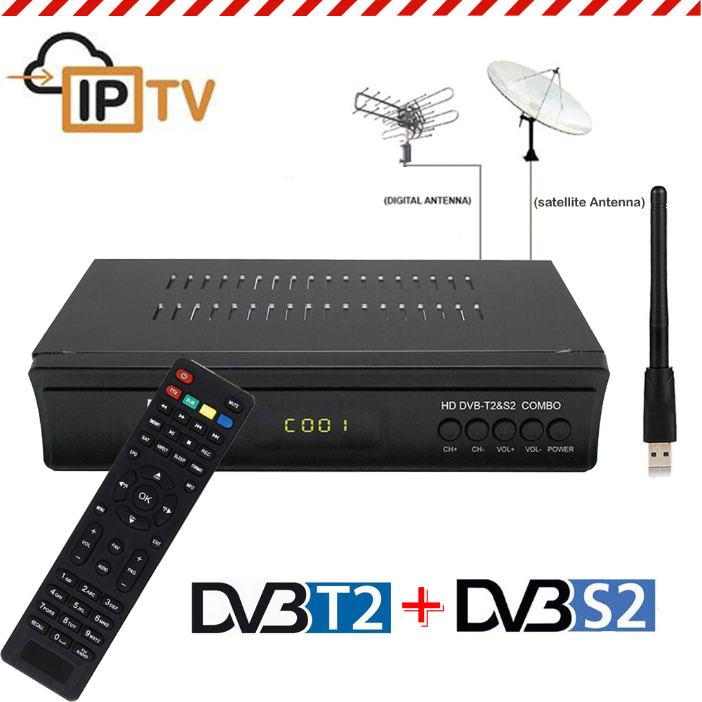 Digital DVB-S2 Satellite DVB-T2 Terrestrial Receiver Combo Decoder + USB Wifi Dongle IPTV CS IKS Youtube Share Key Set Top Box