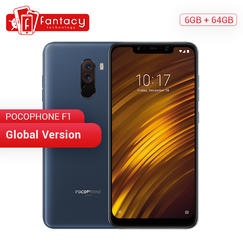 Global Version Xiaomi Pocophone F1 Phone Poco F1 6GB 64GB Snapdragon 845 Octa Core Liquid Cool 6.18