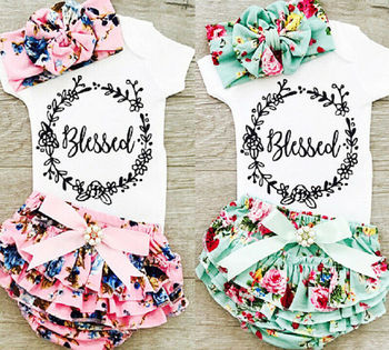 0-18M Newborn Baby Girls Cotton Tops Romper Floral Shorts Headband Outfits Set Summer Clothes US Stock