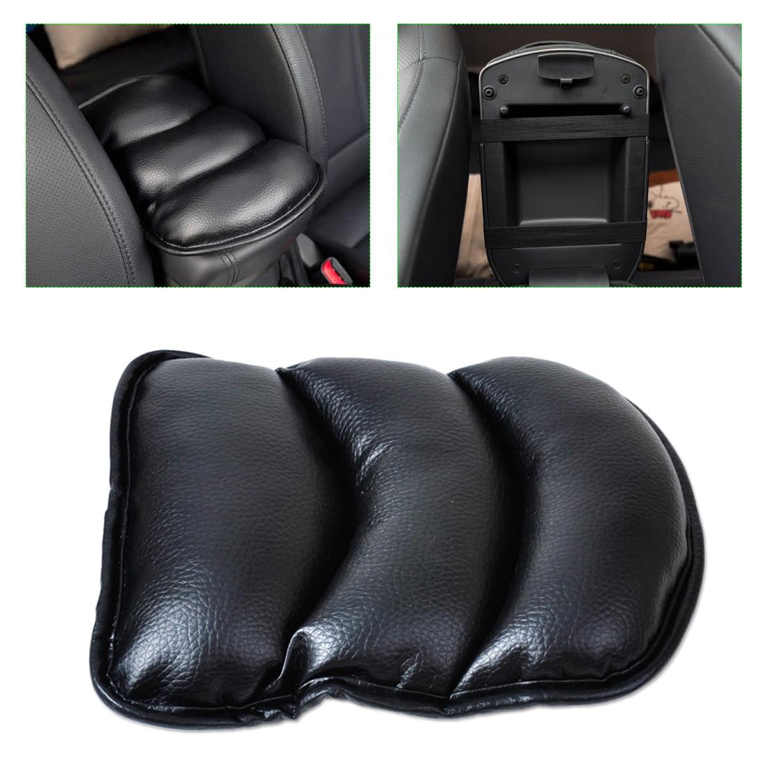 Car Center Armrest Console Soft Cushion PU Leather Mat Cover Cushion Pad Black
