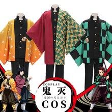 Anime iblis avcısı Kimetsu hiçbir Yaiba Cosplay kostüm Kamado Tanjirou Agatsuma Zenitsu Tomioka Giyuu Haori pelerin erkekler pelerin üniformaları