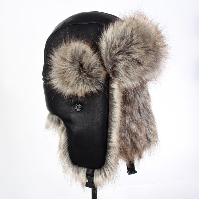 b6913bd2906 Autumn and winter men women s pu leather faux fur hat thickening russian  winter thermal skiing ear protect motorcycle cap