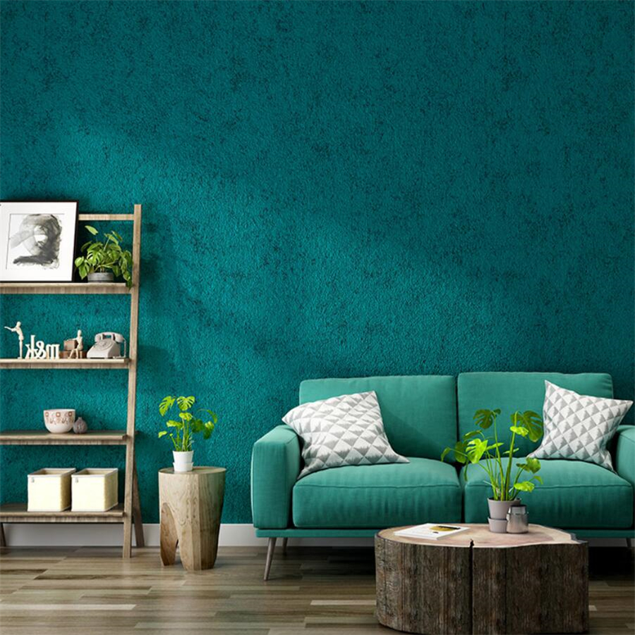 Wellyu Nordic Style Peacock Blue Green 3d Wallpaper Plain