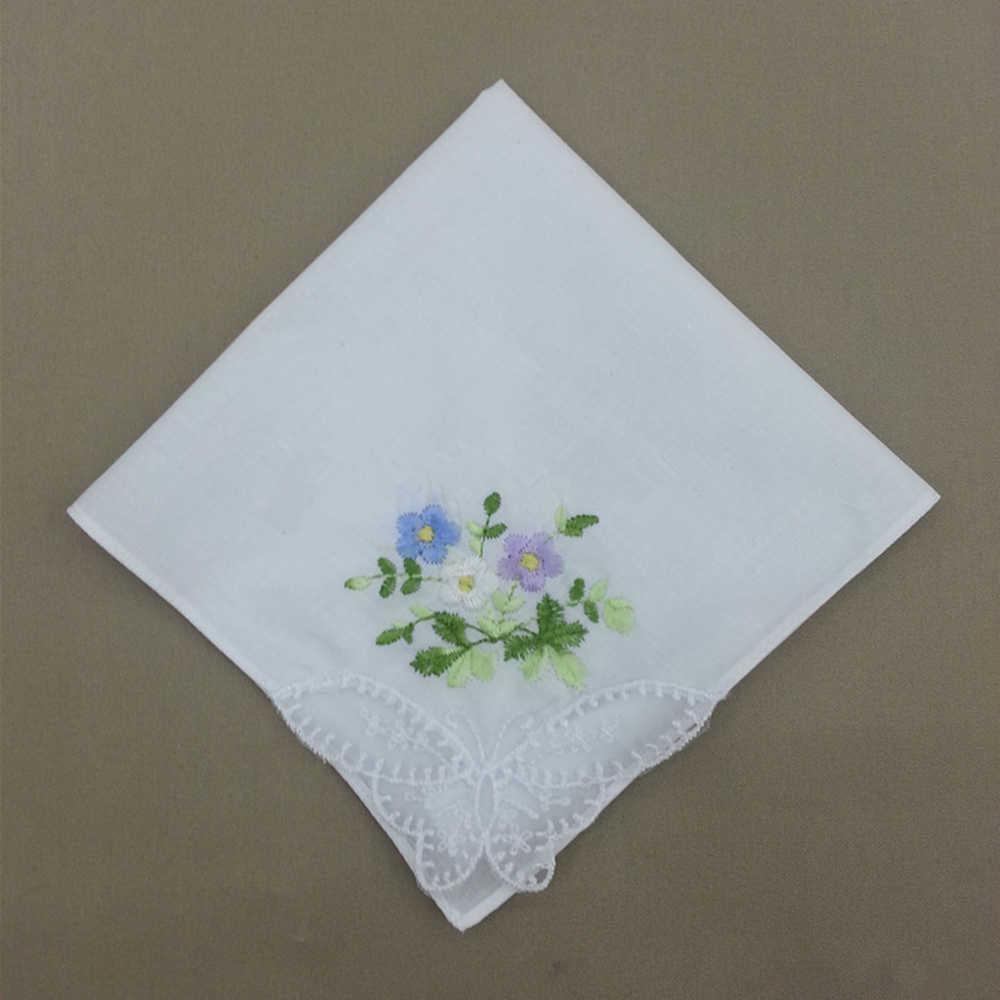 2Pcs/lot Embroidered handkerchief cotton white cotton embroidery lace single side edge handkerchief cotton handkerchief fabric