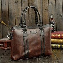все цены на Men Vintage Business Real Genuine Leather Briefcase Travel Causal Shoulder Messenger Portfolio Bolsa Laptop Bags Lawer Handbag  онлайн